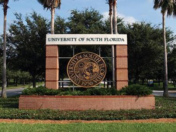 Main entrance of the USF Tampa campus.