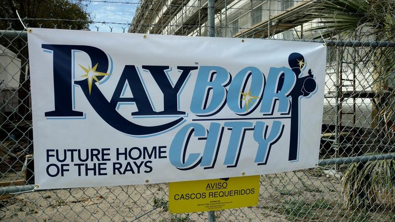 Signs promoting the Tampa Bay Rays' planned Ybor City stadium are starting to pop up in the historic Tampa neighborhood.