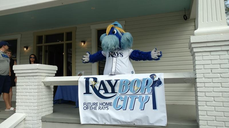 Rays' mascot, Raymond, poses in front of the future home of the Tampa Baseball Museum. It was originally the boyhood home of Al Lopez, Tampa's first Major League player.