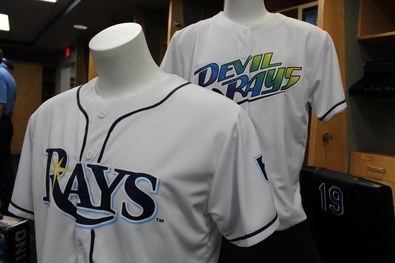 A throwback of the 1998 Devil Rays jersery bearing the original name and logo was unveiled at a press conference Wednesday to celebrate the team's 20th anniversary