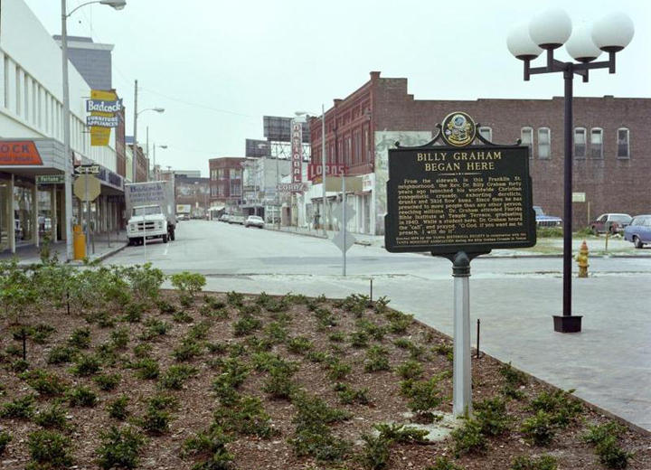 A historical marker in downtown Tampa marks where Billy Graham started trying to help people on North Franklin Street.