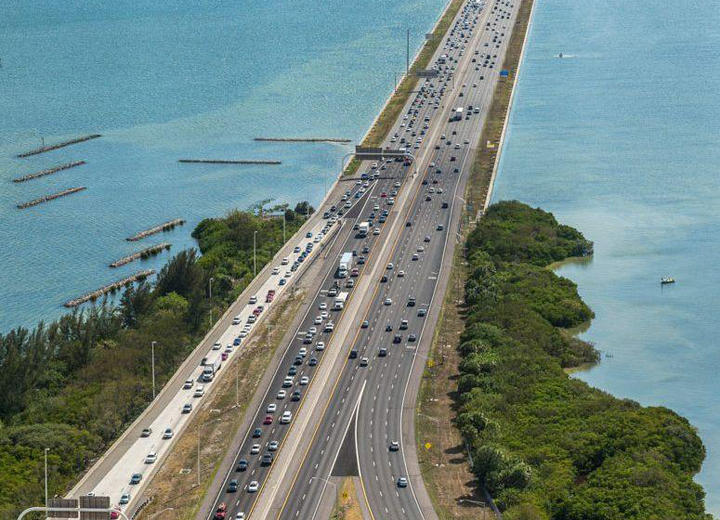 Approach to Tampa from the Howard Frankland Bridge.