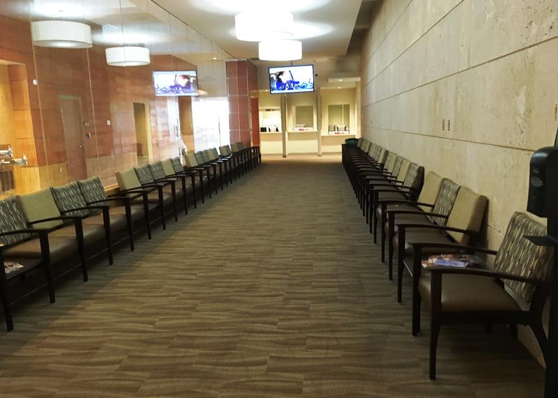 The waiting area for outpatient veterans at the Bay Pines VA's new mental health center.