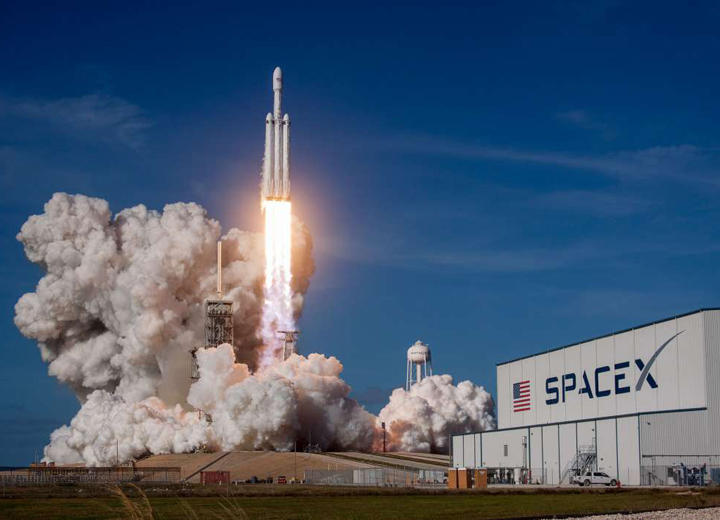 Falcon Heavy launches for the first time from Kennedy Space Center.