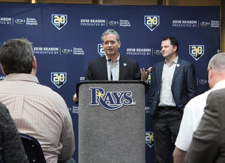 Rays Principal Owner Stuart Sternberg at the unveiling of the 20th anniversary season. Although the team has faced poor expectations and doubt in the past, he said each season brings new optimism.