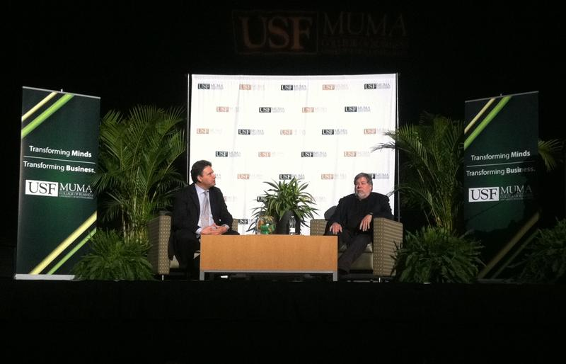 Steve Wozniak, right, appears on stage with Muma College of Business Dean Moez Limayem