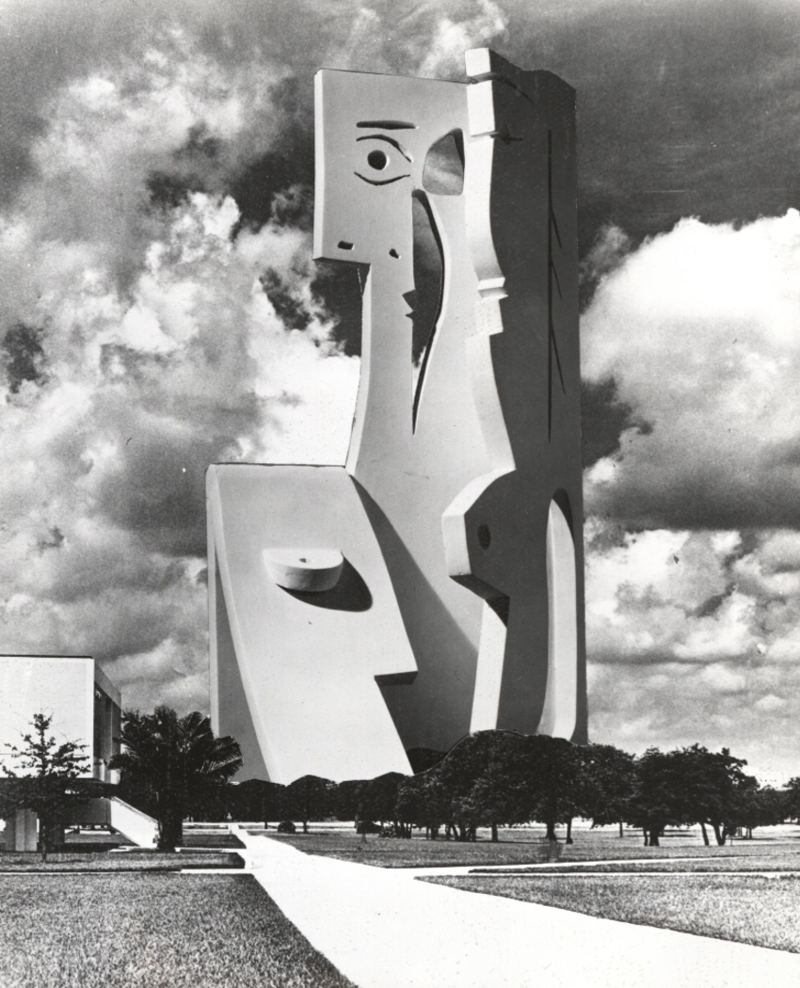 "A photomontage of the ""Bust of a Woman"" sculpture at the USF campus made by Carl Nesjar in 1971."