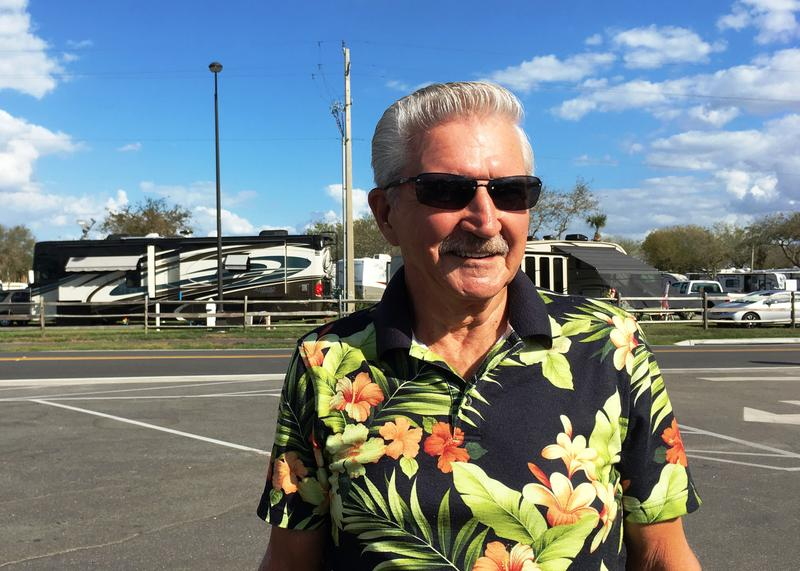 Navy veteran Tom Peters across from the main RV Family Campgrounds at MacDill AFB, Tampa, FL, that has close to 400 full RV hook-ups.