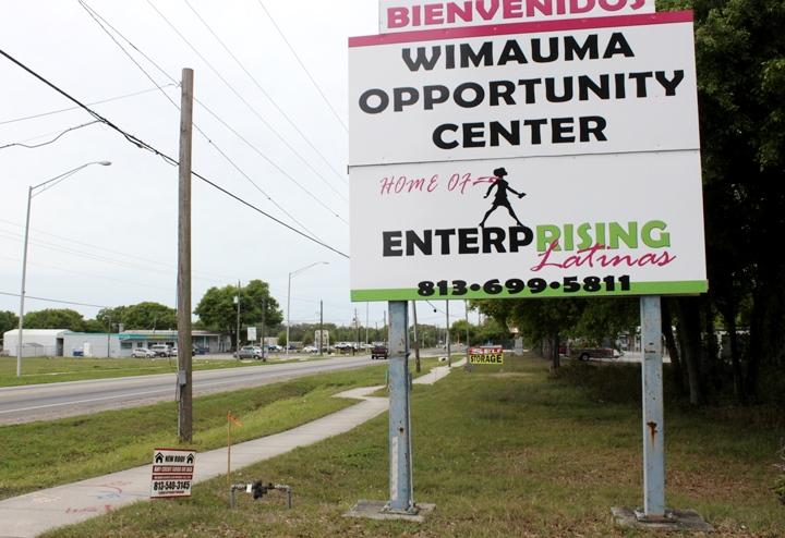 Just outside the Enterprising Latinas office, State Road 674 is the only road serviced by public transportation in Wimauma.