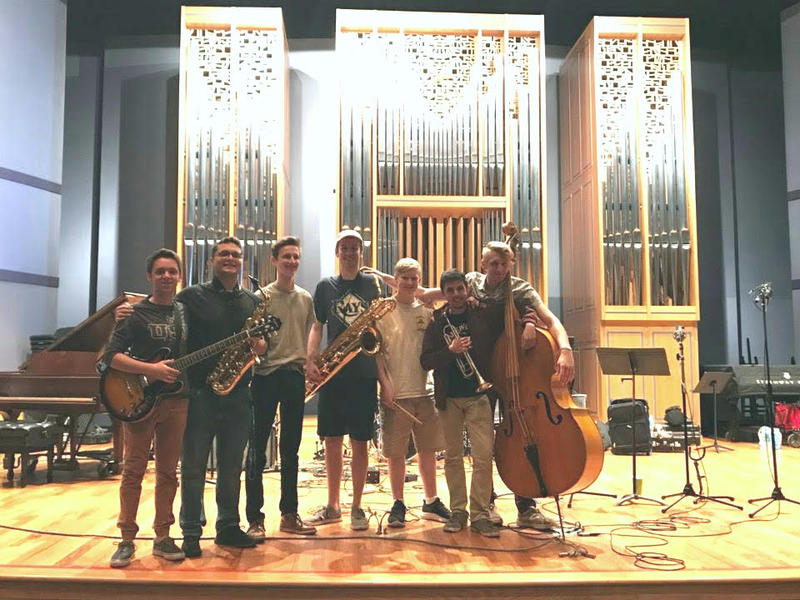Band members of the Lakewood High School jazz ensemble at a recent recording session in St. Petersburg College Gibbs campus' auditorium.