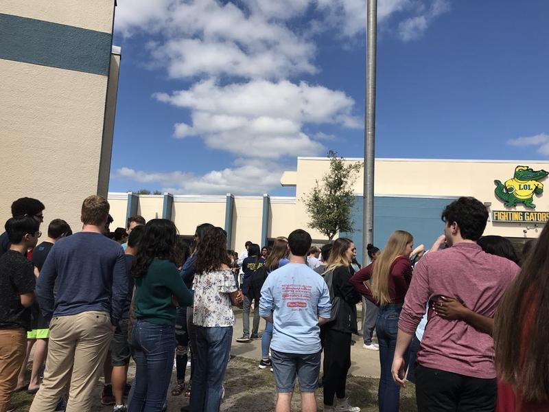 Students at Land O' Lakes High School in Pasco County walked out of class on February 21 to push for stricter gun control.
