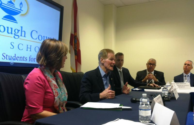 Tampa Congresswoman Kathy Castor, left, and U.S. Sen. Bill Nelson address the group of school students and administrators