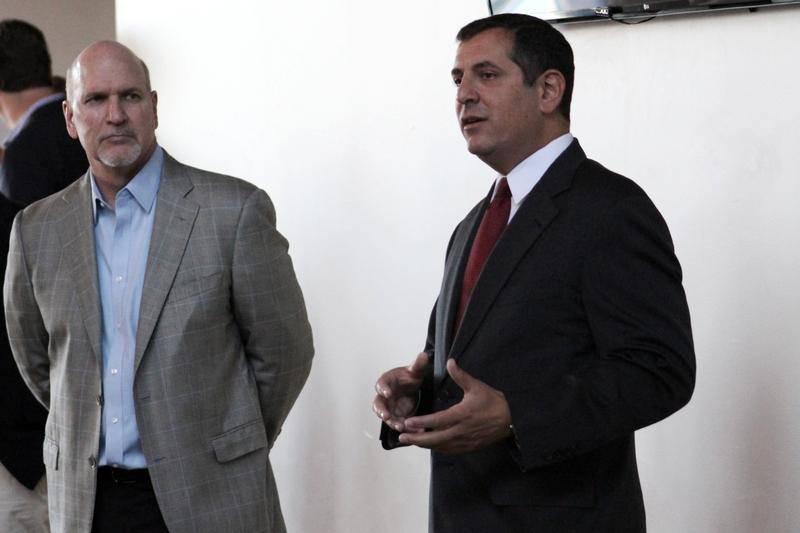 Chuck Sykes of Sykes Enterprises (left) and lawyer Ron Christaldi (Right)  are in charge of Tampa Bay Rays 2020, an organization focused on drumming up community support for the stadium move.