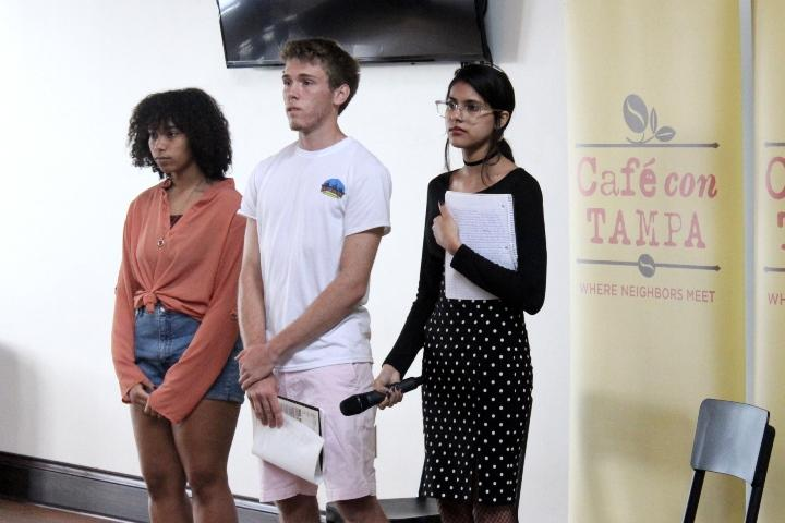 Three Tampa students (from left: Julize Diaz, Safiyyah Ameer, Alex Barrow) told local leaders many high school students live in fear following the Parkland school shooting.