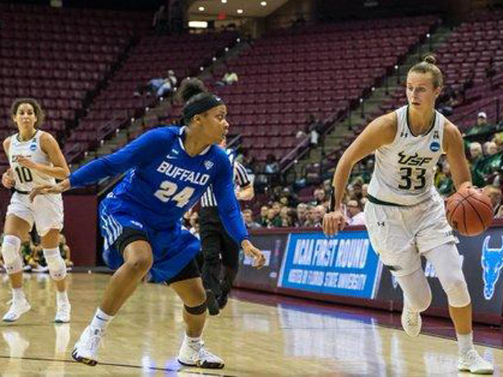USF junior guard Kitjia Laksa set the new USF junior season scoring record of 717 points by scoring a team-high 28 in a season-ending loss to Buffalo 102-79 in the first round of the NCAA tournament Saturday in Tallahassee.