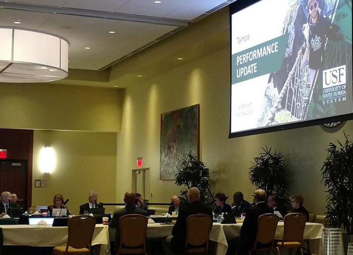 The USF Board of Trustees discussed a variety of topics at Tuesday's meeting in the USF Marshall Student Center in Tampa, including consolidation of the separate accrediations for the system's three campuses.