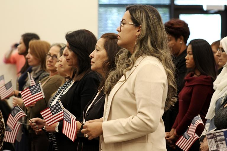 More than 50 women from 25 countries became citizens at an all-women naturalization ceremony on Friday.