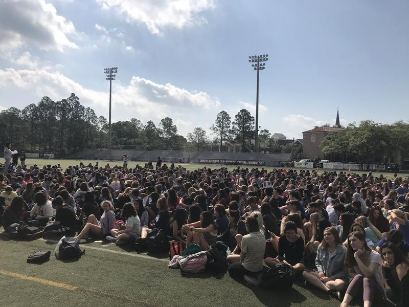 Students at Plant High School participated in Friday's National Student Walkout in protest of gun violence.