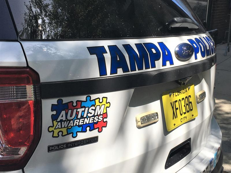 "Tampa Police Department put autism awareness stickers on some of their patrol cars to kick off the new ""Help Us, Help You"" program."