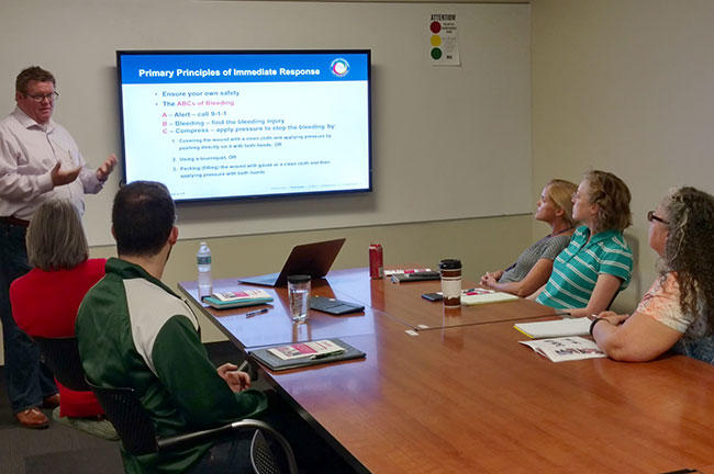 "Donald Mullins, USF Health Director of Safety & Preparedness, teaches a ""Stop the Bleed"" class."