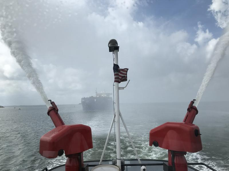 Water cannons douse the Ireland as it makes its maiden voyage into Port Tampa Bay Sunday.