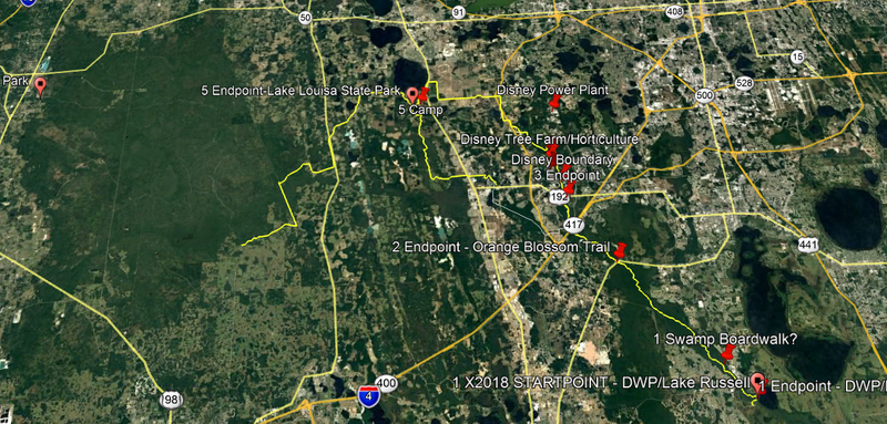 The planned route, from Disney Wilderness Preserve at lower left, north past I-4 through Disney World property, into the Green Swamp, upper left