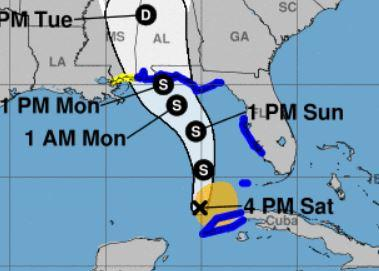 The areas in blue are under a Tropical Storm Warning, as of 5 p.m. Saturday.
