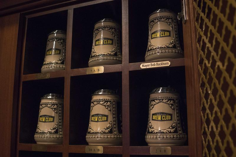 The park's new Beer Gardens Brew Club program offers members a reserved $79 beer stein and $5 refills of more than 20 beers all yearlong. Buckhorn received the first stein.