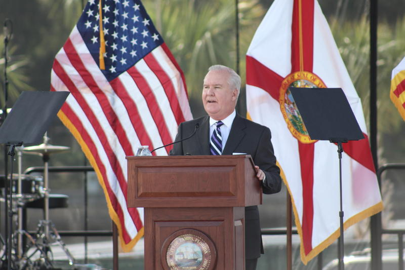 Tampa Mayor Bob Buckhorn delivered his last State of the City adress as mayor at the Julian B. Lane Waterfront Park on Friday morning.