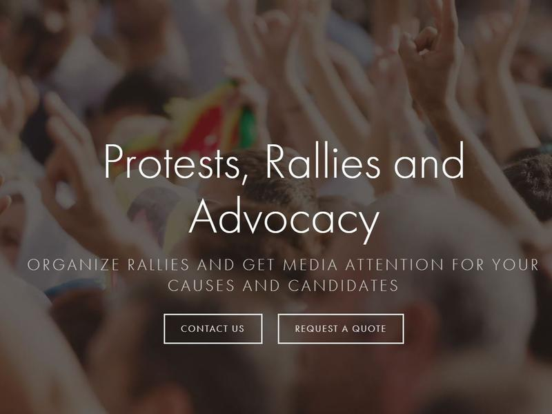 The Crowds on Demand website promotes how it can organize actors for political purposes.