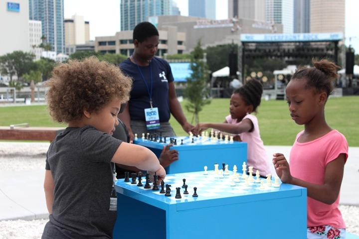 The park contains metal chess boards and ping pong tables created by The Urban Conga.