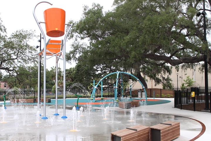 The park has a splash pad similar to the Tampa Waterworks Park.