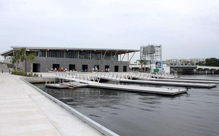 The Julian B. Lane Riverfront Park has a boat house and community center on site.