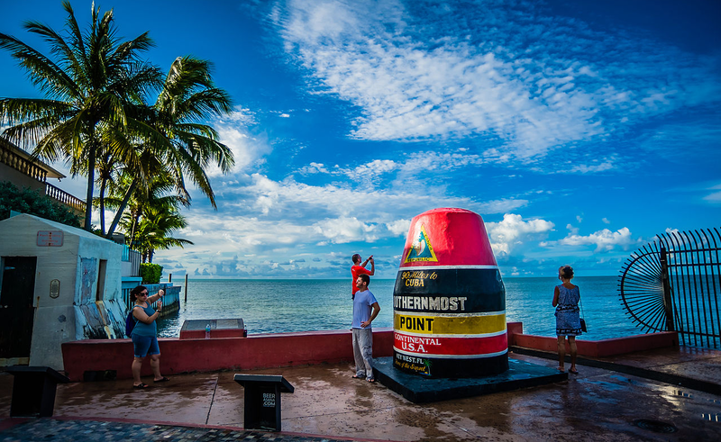 The sign, like this monument designating the southernmost tip of the U.S., is one of many familiar Key West scenes.