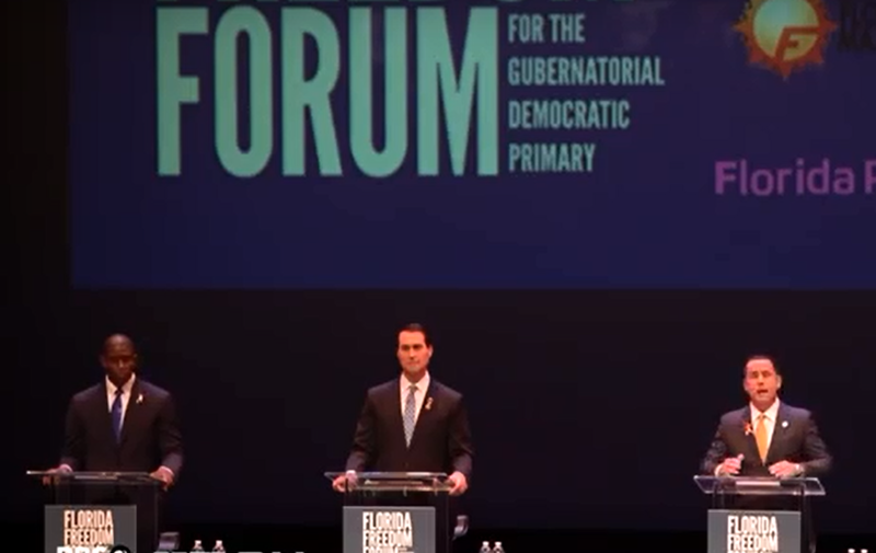 Democratic candidates Andrew Gillum, left, Chris King and Philip Levine at a recent Democratic debate. Candidate Gwen Graham is not shown