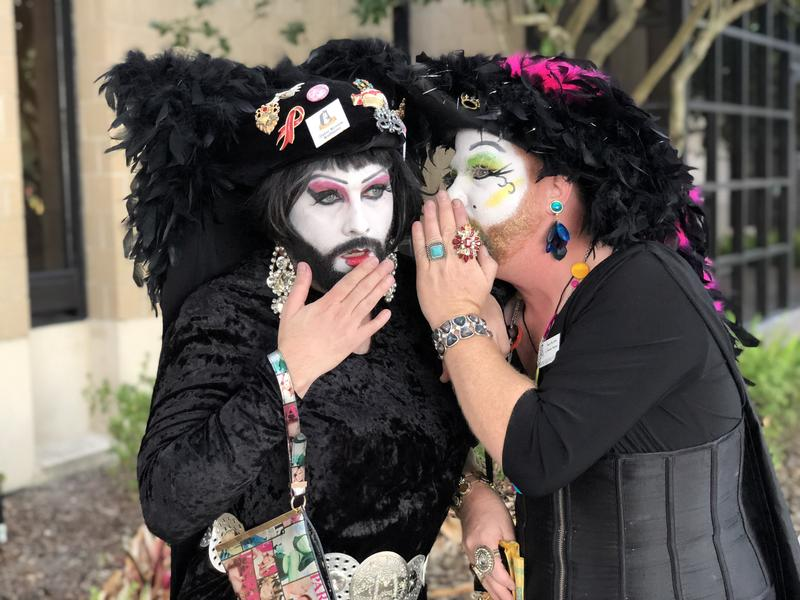 "Sister Muffy and Sister Agatha Frisky, members of the Perpetual Sisters of Indulgence, tout themselves as ""nuns of the gay, lesbian and supportive communities."""