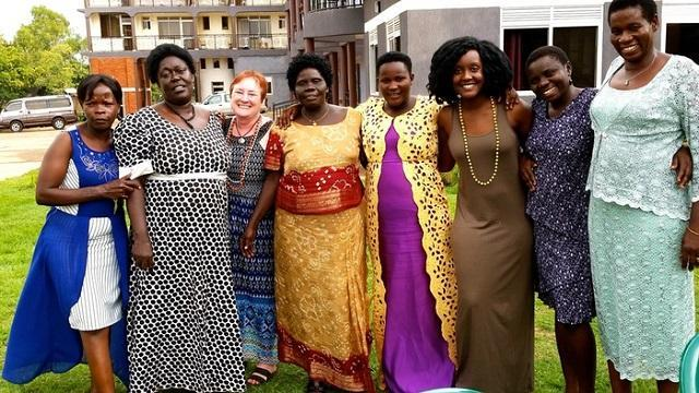 USF Sarasota-Manatee's Dr. Jody McBrien (third from left) with some of the resettled Ugandan women she's worked with.