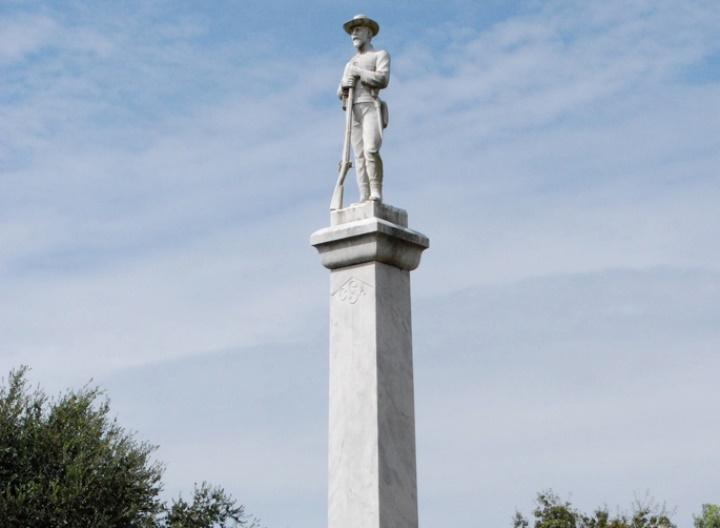 The 26-foot-tall marble statue was erected by the Daughters of the Confederacy in 1910 and dedicated to Confederate veterans.