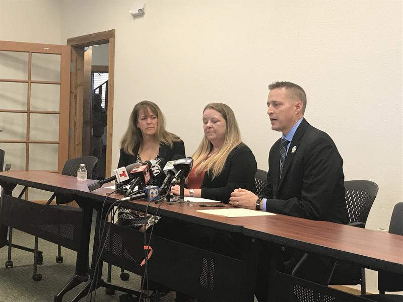 (Left to right) HCTA President Jean Clements, HCTA Executive Director Stephanie Baxter-Jenkins and Hillsborough Schools Superientendent Jeff Eakins discuss the items in the agreement.