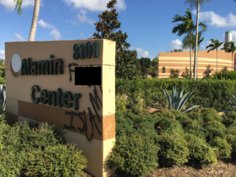 "A vandal spraypainted ""F--- Islam"" on the sign outside the Al Amin Islamic Center in Boynton Beach in November, 2017."