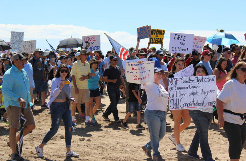 Marchers protest against a detention center in Tornillo, Texas on June 17, 2018.
