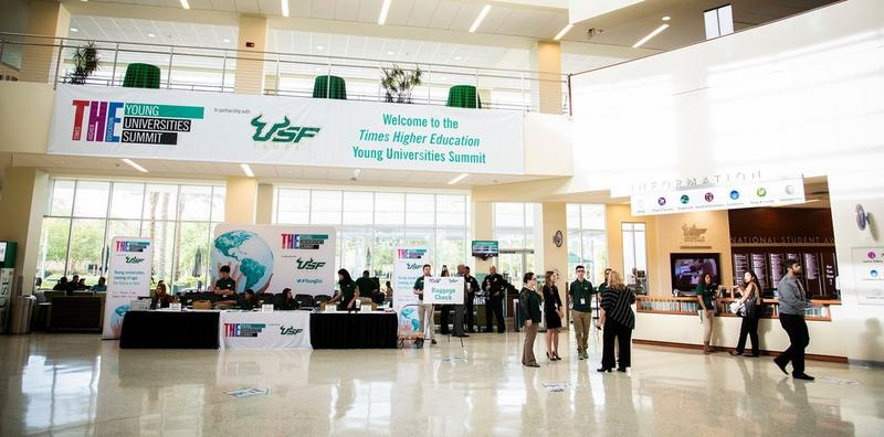 The USF Marshall Student Center was decorated to welcome more than 250 attendees of the Times Higher Education Young Universities Summit.