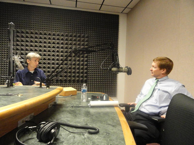 WUSF's Carson Cooper interviewing Florida Agricultural Commissioner Adam Putnam in 2014.