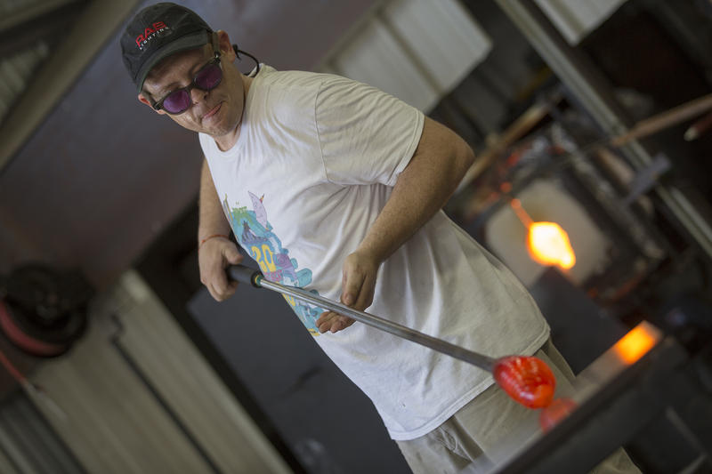 """Whereas with a medium like painting, where anyone can pick up a brush and take a stab at creativity, glass definitely has more of a """"don't try this at home"""" feel. Jeremiah Jacobs says that's part of what makes the material so appealing."""
