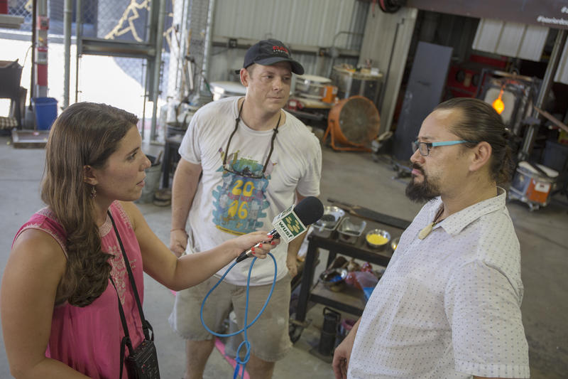 WUSF reporter Stephanie Colombini interviews glass artists Artists Jeremiah Jacobs and Matthew Piepenbrock at the Morean Arts Center's Hot Shop and Glass Studio in St. Pete.