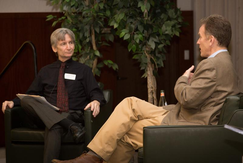 WUSF's Carson Cooper interviews NPR Morning Edition Host Steve Inskeep at an event at USF Sarasota-Manatee in 2017.