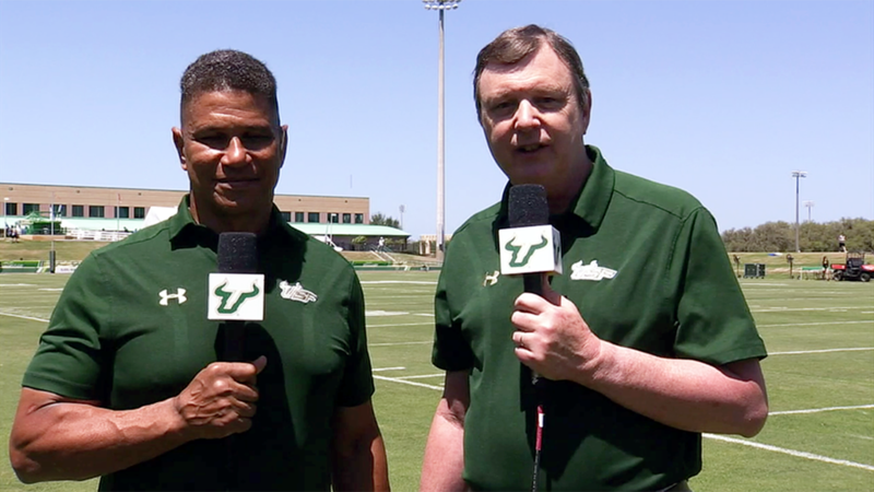 Mark Robinson, left, and Jim Louk have announced all 251 USF Bulls football games on the radio. Robinson is retiring before the Sept. 1 opener against Elon.