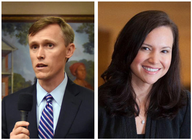 Frank White, left, and Ashley Moody, right, are both Republican candidates for attorney general.