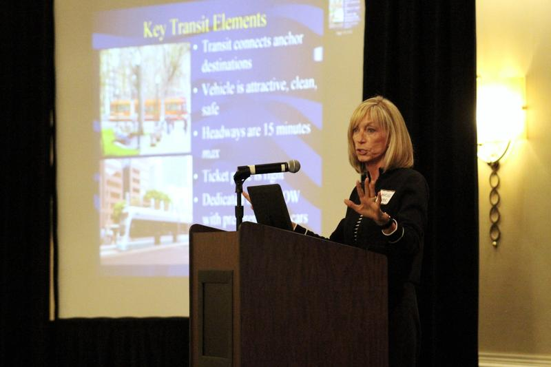 Real estate adviser Marilee Utter told the crowd at the Tampa Bay Trasit Forum on Friday that mass transit stops can become sites for new development districts.