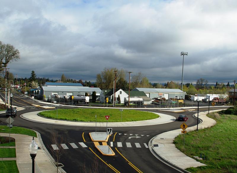 Modern roundabout.